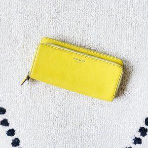 COACH Yellow Double Zip Long Wallet